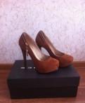 Туфли рыжие (коричневые) на высоком каблуке