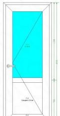 Пластиковая Дверь 2000х800, стекло/сендв, нажимная
