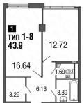 1-к квартира, 43. 9 м², 4/9 эт