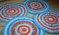 Комплект вязаных ковриков на табуреты, 4 шт