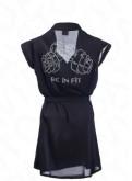 Черный шифоновый халат фитнес бикини BF-1