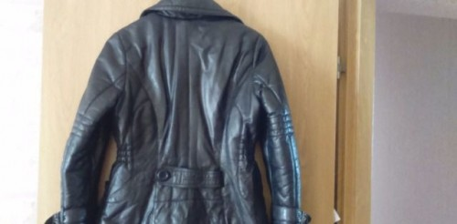 Куртка нат. кожа, черная, норковая шуба горизонтальные полосы