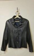 Кожаная куртка темно-синего цвета, женские рубашки в клеточку длинные