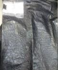 Черная тонкая кожа на куртки с тиснением