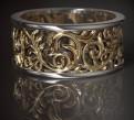 Кольцо комбинированное золото женское новое