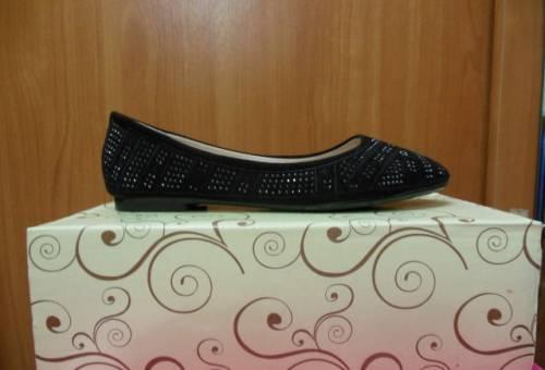 Балетки со стразами - новые (р. 36), зимняя обувь женская теплая