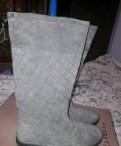 Сапоги, коричневые замшевые туфли женские