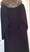 Пальто зимнее с мехом чернобурки, простое платье из фатина