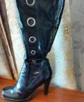 Обувь на танкетке с джинсами, ботфорты, лайковые, Выборг