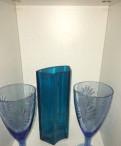 Фужеры и ваза цветное стекло
