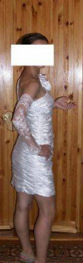 Платье свадебное короткое + митенки, платье на тоненьких бретелях, Тосно