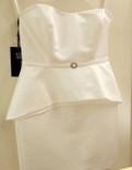 Платье коктейльное, вечернее, свадебное белое атла, платья из шелка лето повседневные