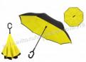 Зонт-наоборот полуавтомат желто-черный, с чехлом