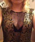 Платье вечерне коктейльное черное с золотым, одежда для танца vogue