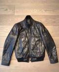 Рубашка под запонки без пиджака, кожаная куртка Hugo Boss оригинал