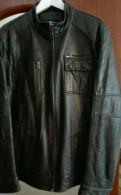 Куртка кожаная, чёрная. Размер 50, термобельё для горнолыжного спорта