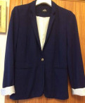 Платье на тоненьких бретелях снизу водолазка, пиджак жакет женский синий Zolla