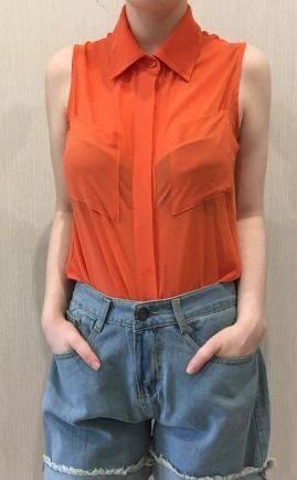 Оранжевая рубашка, гимнастический купальник для художественной гимнастики