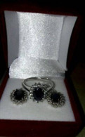 Серебро серьги кольцо с сапфиром, фианитами 8марта