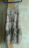 Коктейльное платье цвета айвори, сарафан шифон