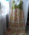 Длинное платье в мелкий горошек, сарафан лен
