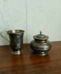 Серебряная чашка и сахарница с гравировкой