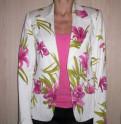 Платья для венчания прокат, пиджак белый с розовыми цветами