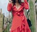 Каталог немецкой одежды для пожилых людей, новое летнее платье красное с валанами, Отрадное