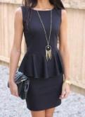 Черное платье с баской Elen (новое), платье а силуэта кружевное