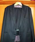 Костюм мужской классический тёмно-серый, рубашка под синие брюки
