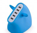 Голубое сзу Momax U. Bull с 5 USB-портами