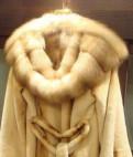 Вязаное пальто с мехом лисы, шуба норковая