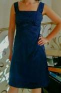 Свадебное платье зимой короткое, синее Атласное платье 42-44