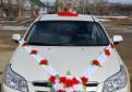 Кольца на машину бело-красные розы с сердцами