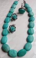 Комплект из бирюзы: ожерелье и серебренные серёжки