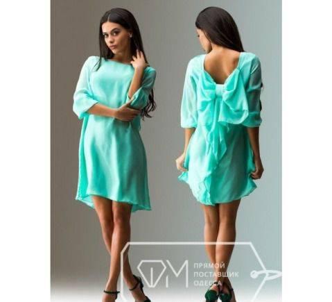 Мятное платье с бантиком, платья модис поло
