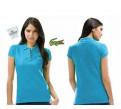 Модная одежда для полных девушек для ресторана, поло Lacoste 100 хлопок голубое плкж51. 3