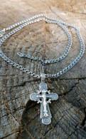 Цепочка бисмарк и крестик серебро цепь