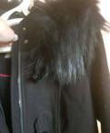 Пальто с капюшоном нат. мех, одежда для кормящих мам бу купить
