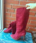 Сапоги замшевые цикламеновые, летняя обувь на платформе кеды