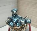 Брошь Щенки в корзине, серебро Астра