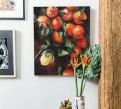 Мандарины и лимон, картина на холсте, натюрморт