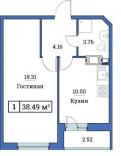 1-к квартира, 38. 5 м², 9/18 эт, Новое Девяткино