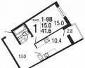 1-к квартира, 41. 6 м², 16/25 эт, Тосно