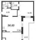 3-к квартира, 56. 9 м², 20/21 эт, Рахья
