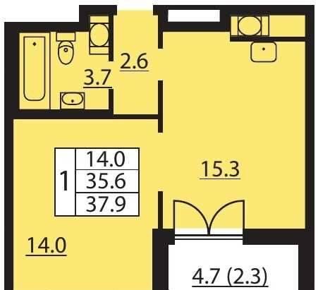 2-к квартира, 37. 9 м², 9/25 эт