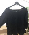 Бальное платье синее, чёрная рубашка с баской 46 р