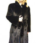 Синее платье с длинным рукавом, норковая шуба Blackglama