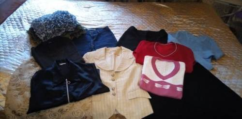 Женские вещи пакетом 44/46 размер, платье в ломаную клетку