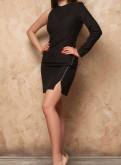 Черное платье, вязаное платье с косами купить
